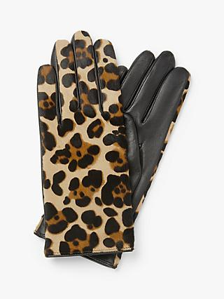 John Lewis & Partners Leopard Print Leather Gloves, Black/Multi