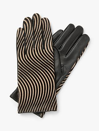 John Lewis & Partners Calf Hair Stripe Leather Gloves, Black/Brown