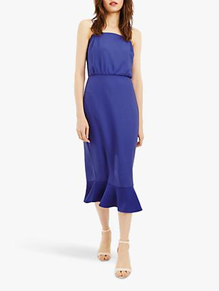 Oasis Column  Frill Hem Midi Dress, Rich Blue