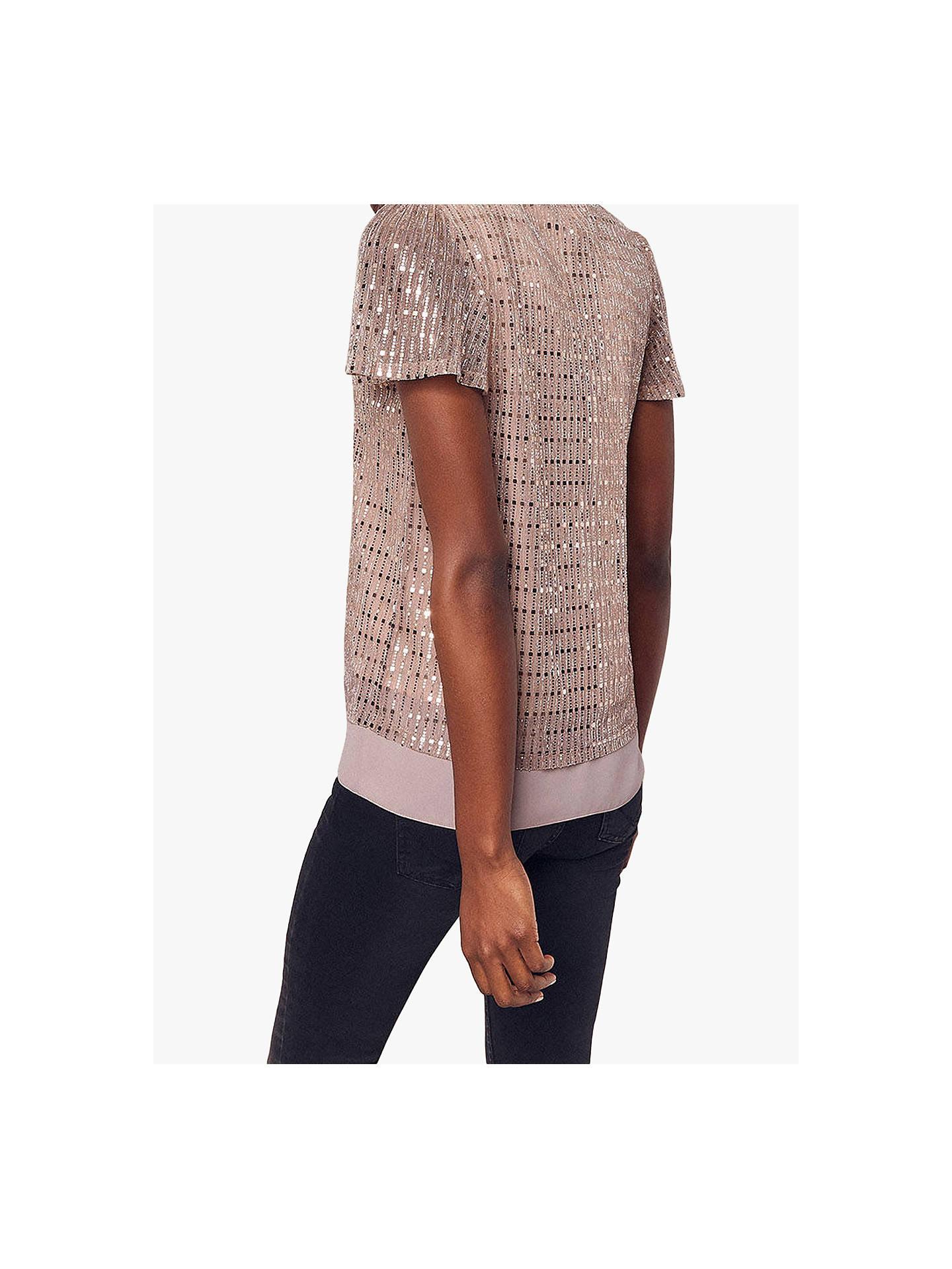 9f1da97a8b26 ... Buy Oasis V-Neck Sequin T-Shirt, Rose Gold, XS Online at ...