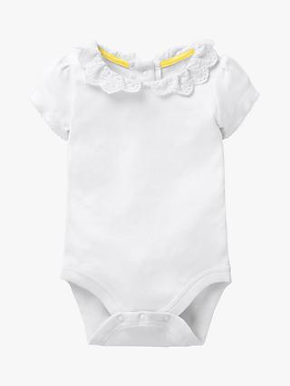 Mini Boden Baby Pointelle Bodysuit, White