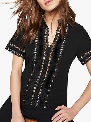 Damsel in a Dress Crochet Detail Jersey Top, Black