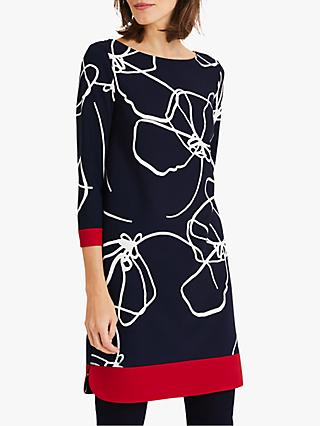 Phase Eight Libby Linear Dress, Navy/Ivory