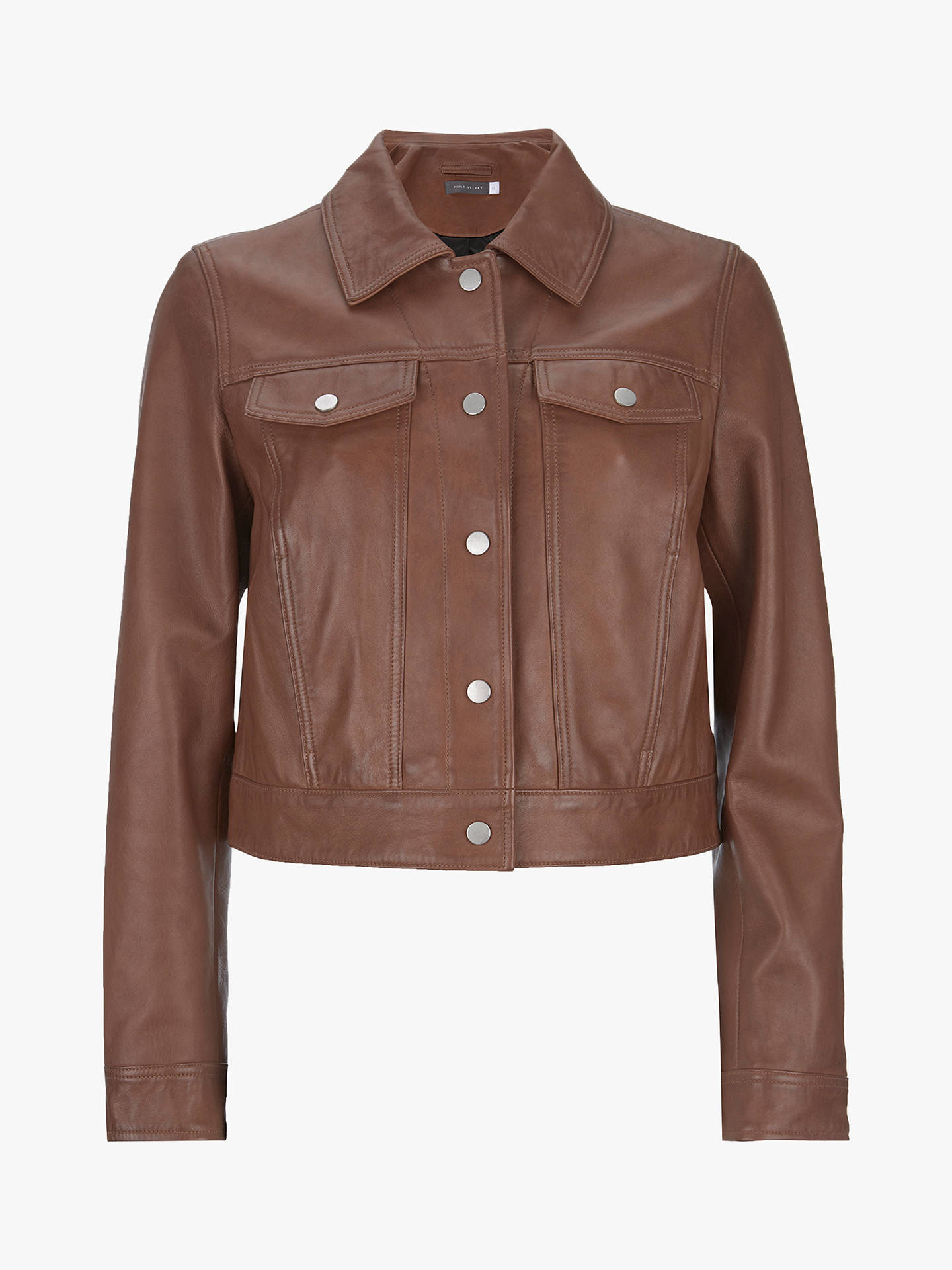 3ff277aebffc7 Buy Mint Velvet Leather Biker Jacket, Tan, 10 Online at johnlewis.com ...