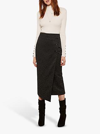 Mint Velvet Leopard Print Midi Skirt, Black