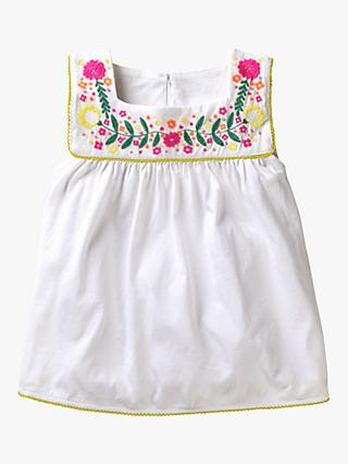 Mini Boden Girls' Floral Embroidered Vest Top, Ivory