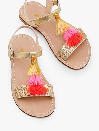 Mini Boden Children's Leather Tassel Sandals, Metallic Gold