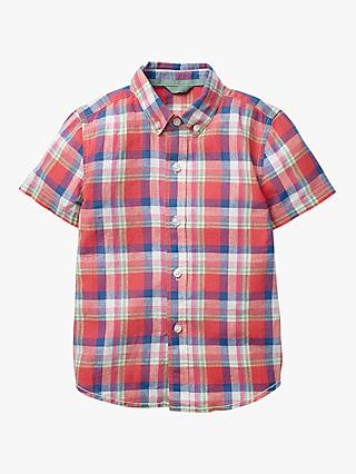 Mini Boden Boys' Dyed Check Shirt, Red