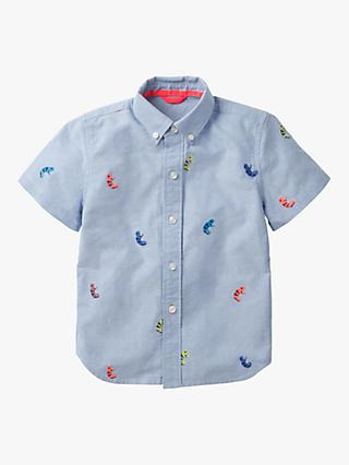 Mini Boden Boys' Fun Embroidered Shirt, Blue
