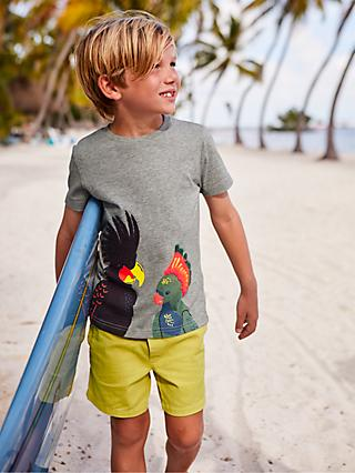 Mini Boden Boys' Exotic Birds Applique T-Shirt, Grey Marl