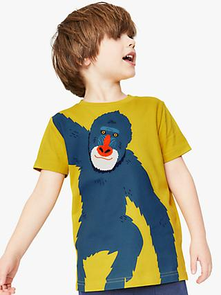 Mini Boden Boys' Monkey Applique T-Shirt, Yellow/Multi