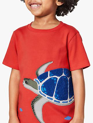 Mini Boden Boys' Turtle Applique T-Shirt, Orange