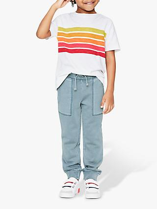 Mini Boden Boys' Slub Washed Stripe T-Shirt, Orange