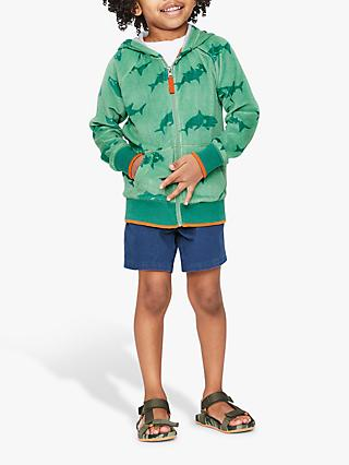 Mini Boden Boys' Shark Towelling Zip Hoodie, Green