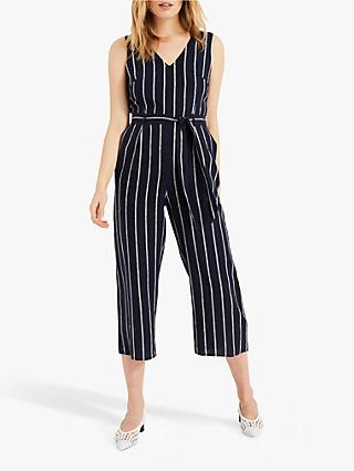 Phase Eight Jennie Linen Stripe Jumpsuit, Navy/Multi