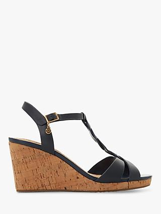 Dune Wide Fit Koala Wedge Heel Sandals, Navy Blue Leather