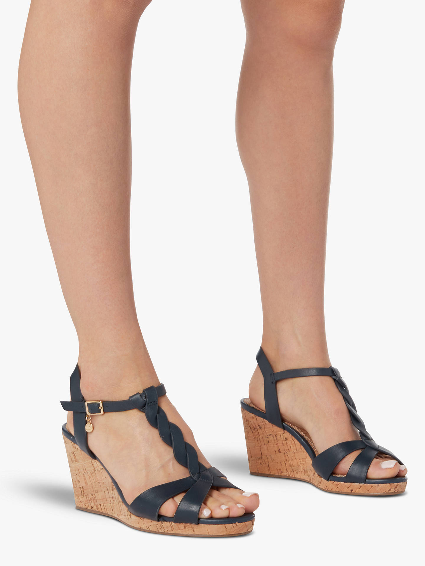 Buy Dune Wide Fit Leather Koala Wedge Heel Sandals, Navy Blue, 3 Online at johnlewis.com