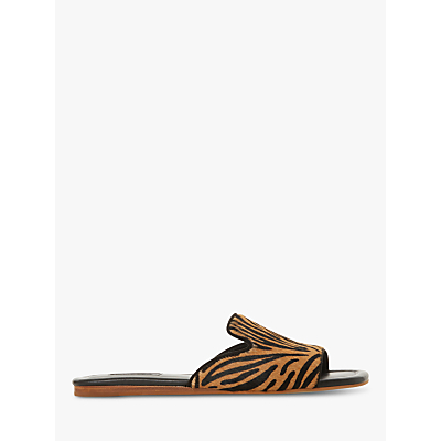 Dune Liase Slip On Flat Sandals, Tiger Leather