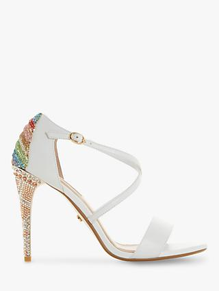 Dune Milkshake Diamante Embellished Stiletto Heeled Sandals, White Leather