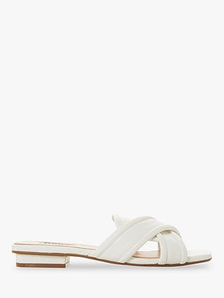 Buy Dune Ludo Padded Cross Strap Flat Sandals, White Leather, 4 Online at johnlewis.com