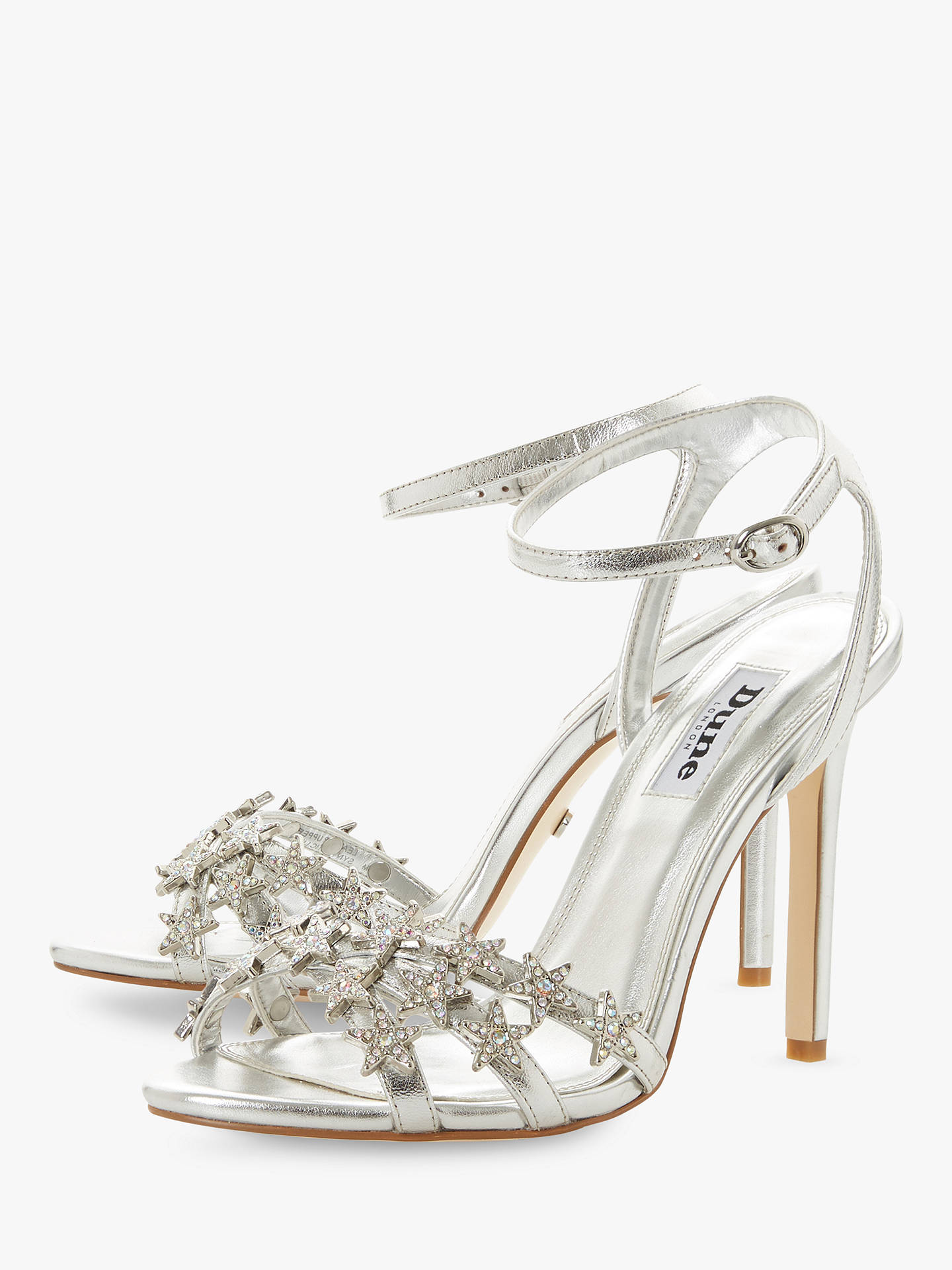 03f49f6a6be0e Dune Magick Star Embellished Stiletto Heeled Sandals, Silver Leather ...