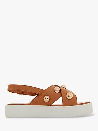 Dune Lamma Cross Strap Leather Sandals