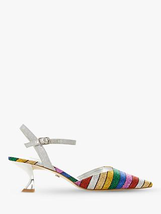 Dune Doriia Kitten Heel Rainbow Court Shoes, Multi