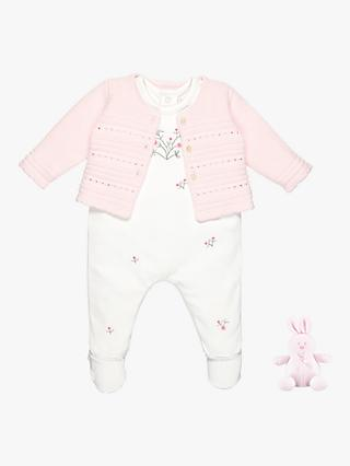 Emile et Rose Roz All-in-One, Cardigan and Teddy Bear Set,