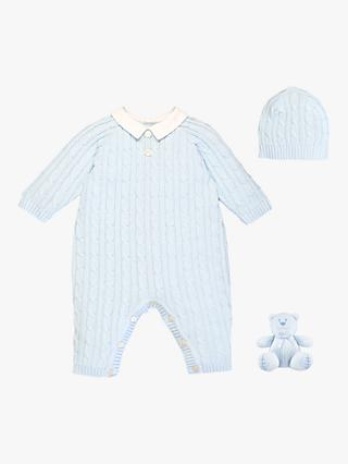 70510ae2b05fa Emile et Rose Ronnie Sleepsuit, Hat and Teddy Bear Set, Light Blue