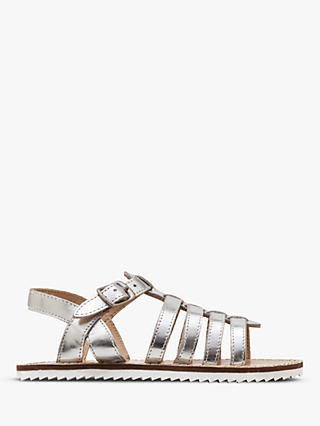 Boden Children's Leather Gladiator Sandals, Metallic Silver