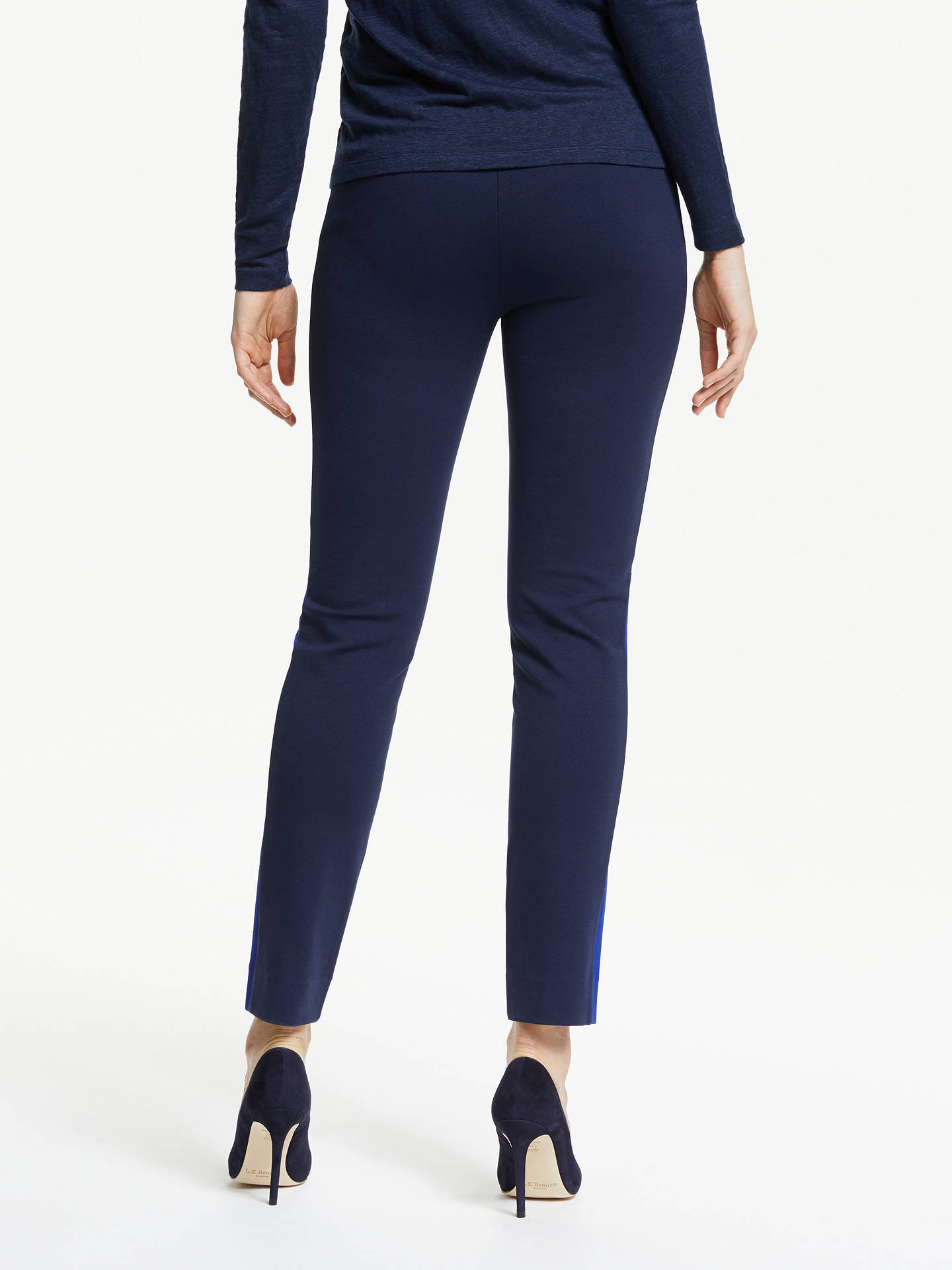 Buy Winser London Miracle Classic Stripe Trousers, Midnight Blue/Navy, 8 Online at johnlewis.com