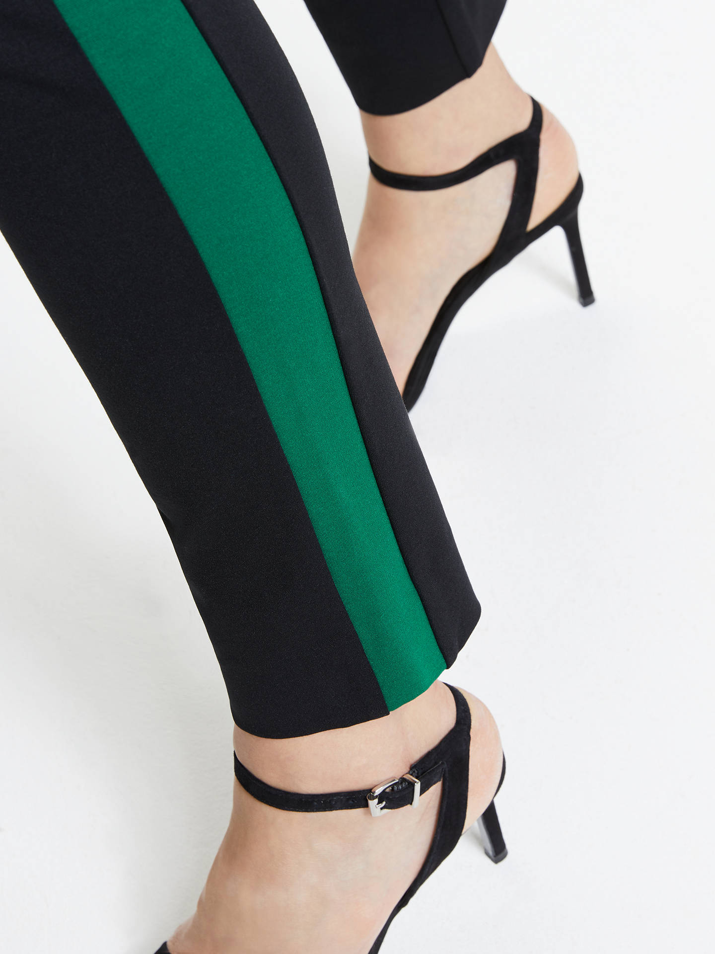 Buy Winser London Miracle Classic Stripe Trousers, Black/Emerald, 18 Online at johnlewis.com