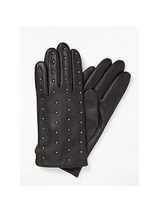 John Lewis & Partners Metal Studded Fleece Lined Leather Gloves