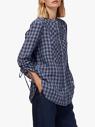 Brora Gingham Linen Tunic, Chambray