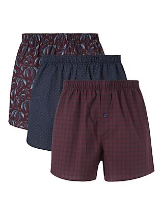 John Lewis & Partners Winter Berry Organic Cotton Boxers, Pack of 3, Red/Multi