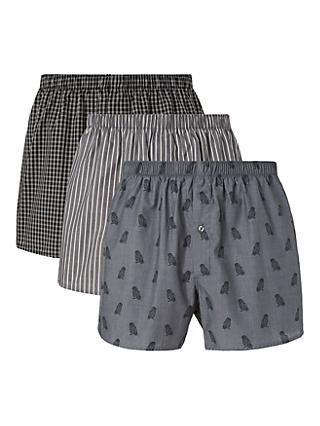 John Lewis & Partners Owl Organic Cotton Chambray Boxers, Pack of 3, Grey