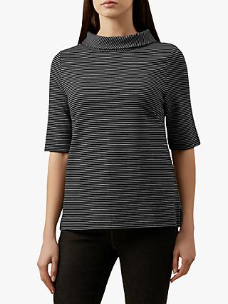 Hobbs Striped Betsy Top, Black Ivory