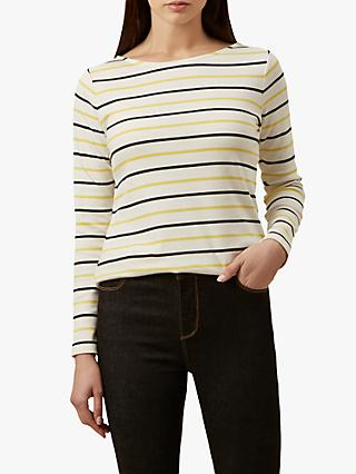 Hobbs Constance Breton Stripe Cotton Top, Yellow/White