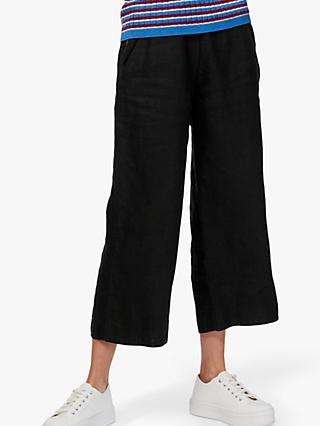 Brora Textured Linen Utility Trousers, Summer Black