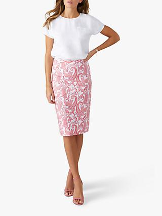 Pure Collection Pencil Skirt, Pink Paisley