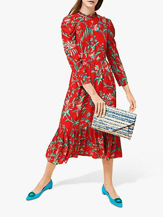 L.K.Bennett Alissa Tie Waist Silk Dress, Red/Multi