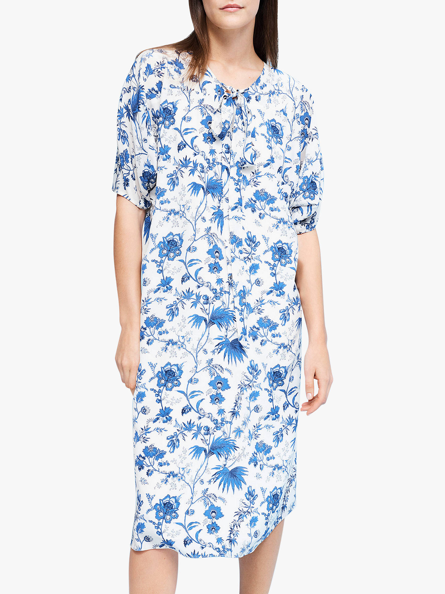 Buy L.K.Bennett Estella Silk Dress, White/Blue, 10 Online at johnlewis.com