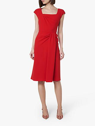 L.K.Bennett Denise Pleat Detail Dress, Deep Red
