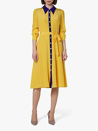 L.K.Bennett Debra Silk Shirt Dress, Multi/Yellow