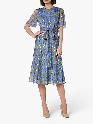 L.K.Bennett Eve Tie Waist Dress, Blue/Multi