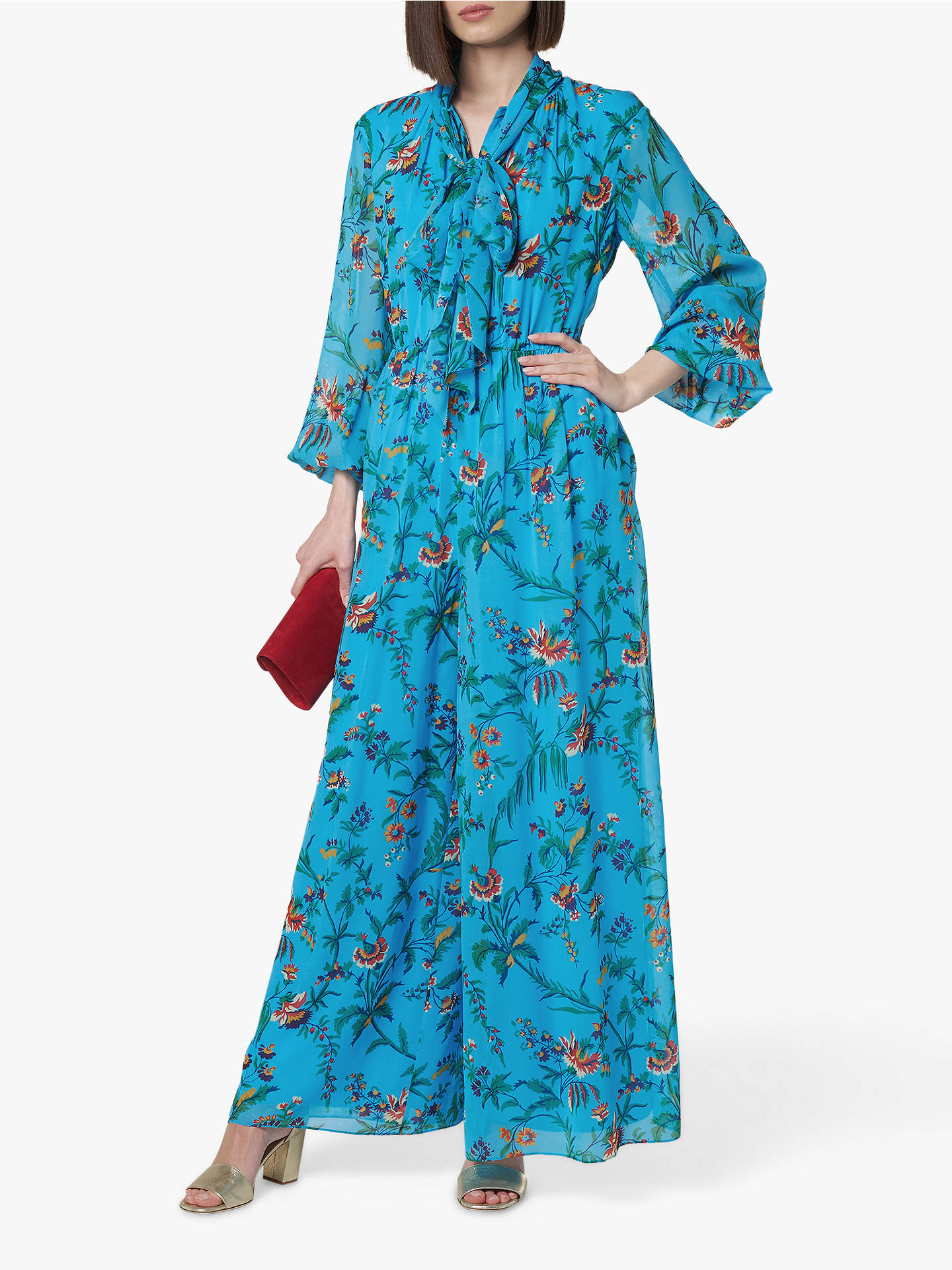 Buy L.K.Bennett Wylie Tie Neck Silk Jumpsuit, Blue/Multi, 6 Online at johnlewis.com