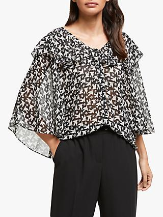 Somerset by Alice Temperley Star Bird Print Flounce Sleeve Blouse, Black/Ivory