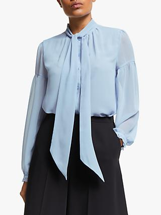 Somerset by Alice Temperley Tie Blouson Sleeve Blouse, Sky Blue