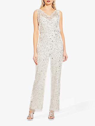 Adrianna Papell Beaded V-Neck Jumpsuit, Ivory