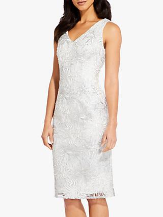 Adrianna Papell Floral Soutache Cocktail Dress, Ivory